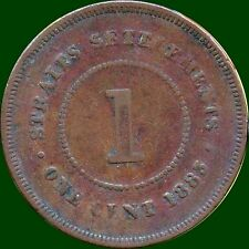 1883 Straits Settlements 1 Cent Coin