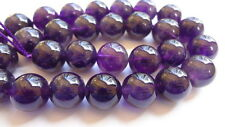 12mm Genuine Dark Amethyst Round Semi Precious Gemstone Beads - Half Strand