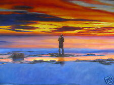 FISHERMAN'S FRIEND FISHING SEA SUNSET AUSTRALIA ART PRINT SIGNED PAINTING