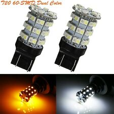 2X T20 7443 60-SMD Daul Color Switchback Tail Brake Reverse White/Amber LED Bulb