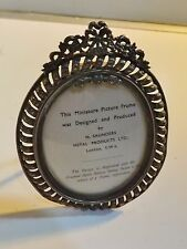 Small Vintage Silver Plated + Brass PICTURE FRAME Freestanding or Wall Hanging