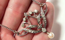 Antique Art Deco Silver Diamond Paste & Pearl Pendant Necklace