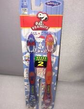 1 New BONUS 2 PACK TOOTHBRUSHES FOR KIDS SOFT  PEANUTS THEME COLOR BLUE AND RED
