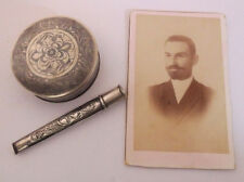 1912 SILVER Tobacco Box, Cigarette Holder Pipe, Photo- ARMENIAN insc. Turkey VAN