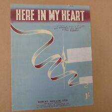 Foglio CANZONE qui nel mio cuore Pat genaro, Lou Levinson, Bill BORRELLI 1952