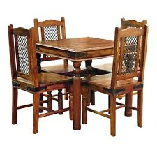 Brand New Jali Ganga-Indian Solid Sheesham Wood -80cm DINING TABLE AND 4 CHAIRS