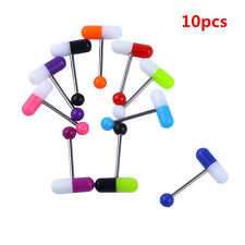 Funny 10PCS Mixed Color Pill Style Tongue Nipple Bar Ring Barbell Body Piercing