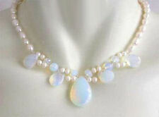 Cultured 7-8MM White Akoya Pearl & White Opal Necklace