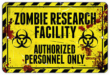 "8""x12"" METAL SIGN Zombie14 Research Dorm Bar Novelty Halloween Door Bedroom Room"