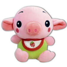 "7"" Baby Pig W/ Strawberry Bib Stuffed Animals Plush Toy Suction Cup New (Green)"