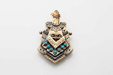Antique Victorian Etruscan Turquoise 14k Gold Picture LOCKET Pendant RARE