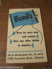 VINTAGE 1953 BOND'S CLOTHING STORE POCKET NOTE BOOK W/CALENDAR ST. LOUIS MO