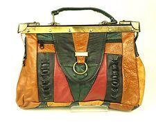 12B Doktortasche Damen Tasche Leder braun grün schwarz Vintage Patchwork