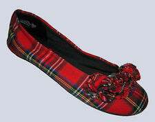 AMERICAN EAGLE GIRLS WOMENS RUFFLE RED PLAID BALLET FLATS SHOES SIZE 4.5 NWT :-)