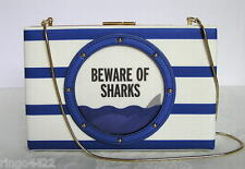 Kate Spade Make a Splash Beware of Sharks Emanuelle Porthole Handbag Clutch NWT