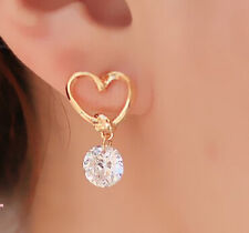 Trendy Fashion Golden Heart Austrian CZ Diamond Stud Earrings Women Girls Gift