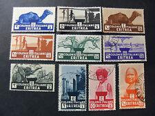 """ITALIA ITALY 1933 COLONIE ERITREA """" Soggetti Africani  """" 10 V.Cpl SET MNH/MH/US"""