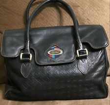 Emilio Pucci Black Leather Satchel Bag  Made in Italy Vintage