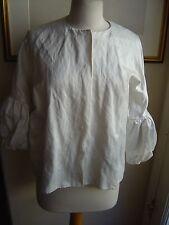 Lanvin 38 ivory metallic cotton dressy jacket puffed lower sleeves snaps