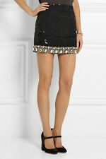 ASHISH Black Sequin Jeweled Beaded Pearl Skirt  S