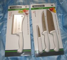 "TRAMONTINA PROLINE 3 PIECE COOKS KNIFE SET & 6"" CHEFS CLEAVER *NEW"
