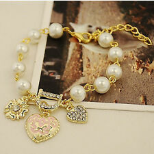 New Bohenmia Heart D with Floral imitaion Pearl Love Heart Bracelets Jewelry