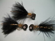 3 x GOLD HUMUNGUS BOOBY  Size10 TROUT FISHING FLIES  (BB24)