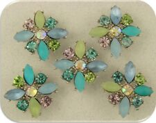 Beads Flowers X Shape~Swarovski Elements~Beach Colors Aqua Blue Sage 2 Hole 5 pc