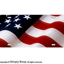 American Flag Fabric Look Patriotic Aluminum License Plate Gloss Baked on Finish
