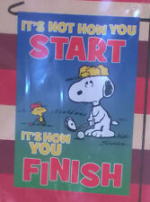 "Peanuts Snoopy Woodstock Golfing Garden Flag 12"" X 18"" It's Not How you Start .."