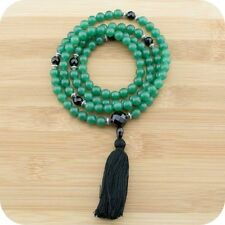 Green Aventurine Mala Necklace with Faceted Black Onyx
