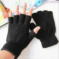 Fashion Men Women Stretch Knitted Gloves Fingerless Winter Warmer Mittens Black