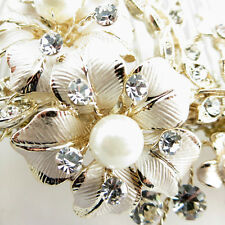 Champagne Gold Ivory Rhinestone Pearl Wired Floral Prom Bridal Wedding Hair Comb