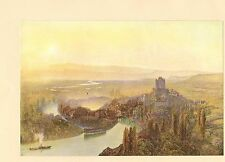 "Stampa ORIGINALE 1902 COLORI intitolata ""THUN, EVENING"" Alfred William Hunt 1870"