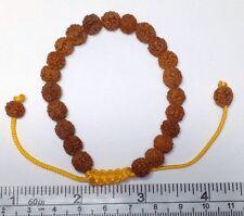 Hindu Rudraksha Seed Wrist Mala / Bead Bracelet. Large & Adjustable Pull Strings