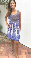 Embellished Short Silk crepe Dress+ Kaftan Dress Santorini Sky+O/S fits 10-14