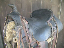 Antique Western Saddle, Maker Los Angeles CA, SASS Cowboy, Americana decor
