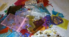 JOB LOT 100 IMPERFECT ORGANZA BAGS Mixed Sizes Colours Plain & Patterned