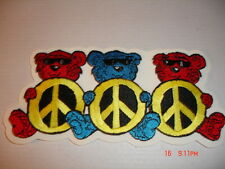 3 PEACE SIGN BEARS WITH SUNGLASSES, EMBROIDERED PATCH, 8 X 3.5