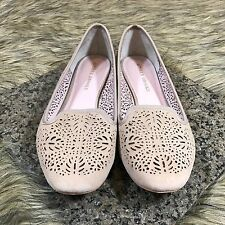 Audrey Brooke 10 M Women's Tan Beige Cut Out Detail Suede Leather Loafer Flats