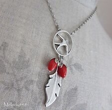 PILGRIM Necklace Vintage BIRDS Swallow Dream Feather Charm Silver/Red BNWT