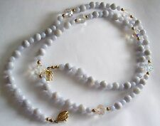 Gorgeous OPALESCENT Long Bead Necklace w/ Cyrstal Accents