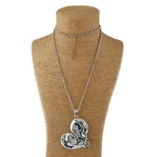 Large Heart Tibetan Silver Charm Pendant and Long Curb Chain Necklace Lagenlook