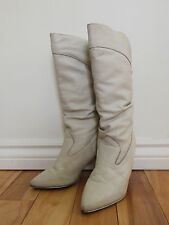 Vintage Rocker Punk LEATHER 80s KILLER High Heels Boots Off White Lined Size 8