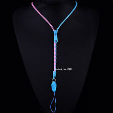 NEW Free shipping zipper necklace Employee's card/key hang rope sky blue+pinkF64