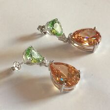 J07 Large peridot & citrine pear drop silver /white gold gf dangle earrings BOXD