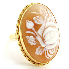 Vintage Carved Roses Dome Cameo Ring in 18K Yellow Gold | FJ BIX