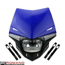 Universal Street Fighter H4 Head Light Fairing Motorcycle Dual Sport Lamp Blue