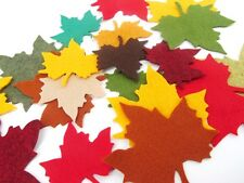12 Small Leaf Wool Blend Felt Die Cuts