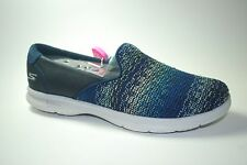 SKECHERS Women's Go Step Bound NAVY Fashion Slip Ons Goga Pillars SZ 7 NEW